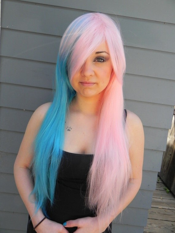 ON SALE // Cotton Candy Swirl / Pink and Blue / Extra Long Straight Wig