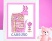 "Kitty Kangaroo Whimsical Print 8x10"" for Girls in Pink  Nursery Art  Name of the Animal in Spanish  Kids Wall Art"
