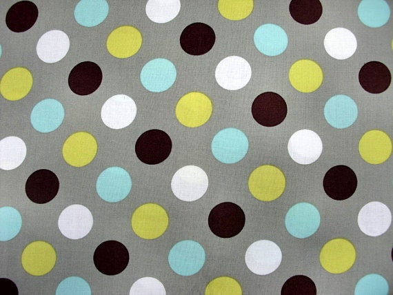 Items similar to grey polka dot print fabric cut by the for Grey childrens fabric