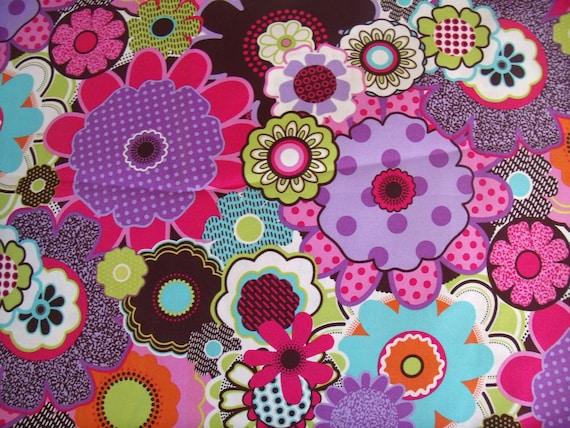 Flower Garden Print Fabric by the Yard Quilting Designer Cotton Apparell Children Fabric