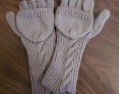 Fingerless Grey Gauntlets With Fold-over mittens