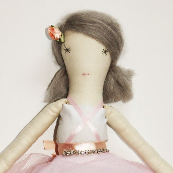 Lila Ballerina Ragdoll: Cloth, Handmade from Vintage and Recycled Materials