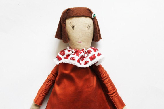 SALE Clementine Ragdoll: Handmade from Vintage and Recycled Materials, Cloth Doll