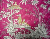 SCHUMACHER: Fisherman of Cathay Fabric--Rasberry