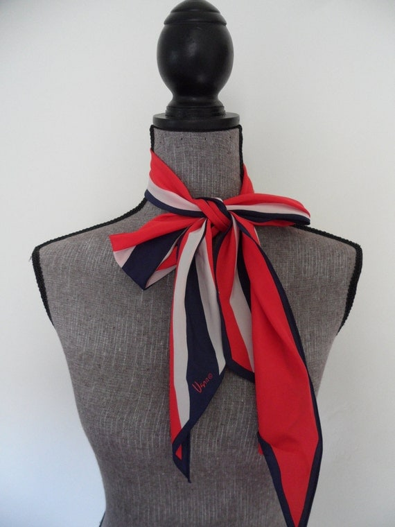 "Vintage Vera Red White Blue Stripes Silk Scarf  Oblong 7.5""x53"""