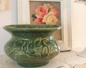Vintage Pottery Spittoon...Planter...Vase...Autumn Decor...Leaf Design...Rustic Cottage Chic...Farmhouse Chic