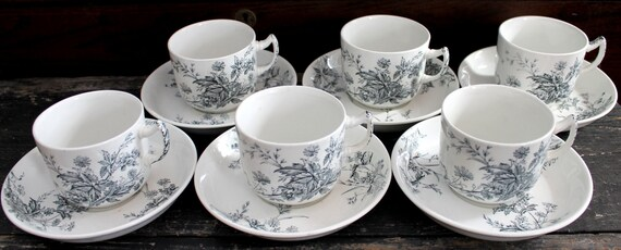 RESERVED...Antique Tea Cups...Set of 6 Tea Cups and Saucers...Ashworth Bros...England...Staffordshire...Ironstone...Black on White...1800s