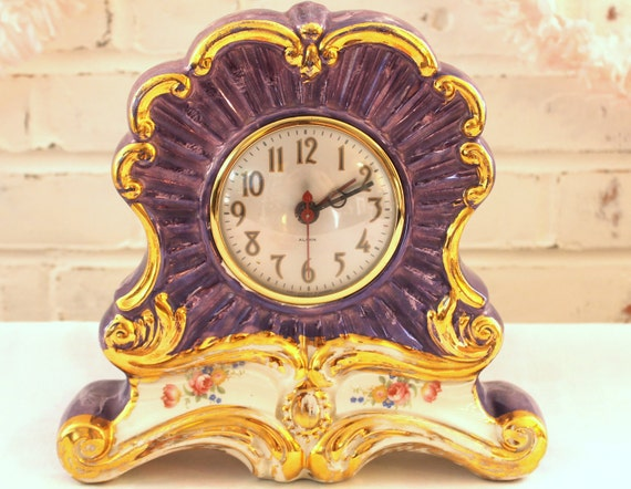 Vintage Victorian Style Electric Clock...Royal Purple Lustre with Gold Trim...Floral Design...Lustreware...Sessions...USA
