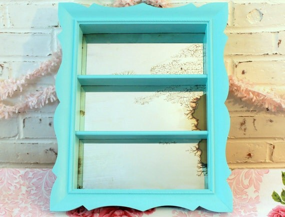 Vintage Mirrored Shadowbox...Upcycled in Fabulous Aqua...Three Shelves...Wall Decor...Turquoise...Beach Cottage Chic