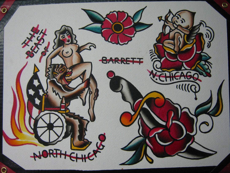 Traditional tattoo flash kewpie by kevinbarrett1 on etsy for Traditional tattoo flash