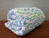 Blue, Green & White Knitted Baby Blankie