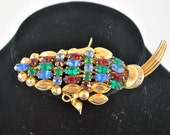 Free shipping sterling multi color rhinestone  autumn mad men brooch pin green blue red rhinestone