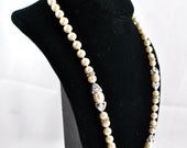 FREE SHIPPING Autumn Fall Antique Snow White Classic Glamour 1950's 1950s Vintage Bride Bridal Wedding Rhinestone Faux Pearl Necklace