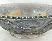 FREE SHIPPING 1950's 1950s Vintage Carnival Iridescence Blue Roses Center Piece Bowl Home Decor