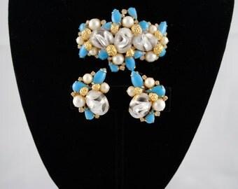 Demi Parure  Designer Hattie Carnegie Old Hollywood Statement Signed Brooch & Earrings Set Vintage 1950s Free Shipping Sale Antique Blue