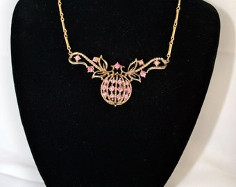 FREE SHIPPING Summer Gifts1950's 1950s Vintage Antique  Fashion  Pink Rhinestone and Gold Necklace - Coro Signed