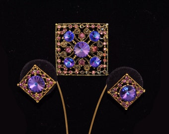 FREE SHIPPING Summer Wedding 1940s Juliana  Rivoli  Vintage Hollywood Pardure  Purple Rhinestone Brooch Pin  Colors earring set Christmas