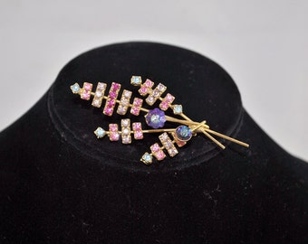 FREE SHIPPING Summer Wedding 1940's 1940s Vintage Antique Bridal Pink Rhinestone Pedals Brooch / Pin  Jewelry Colors