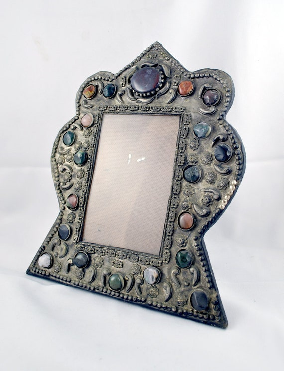 FREE SHIPPING SALE Art Deco Stone Wedding Exotic Gift Home Decor  Photo Ethnic  Silver Inlaid Multicolor Colored  Stone Vintage Frame