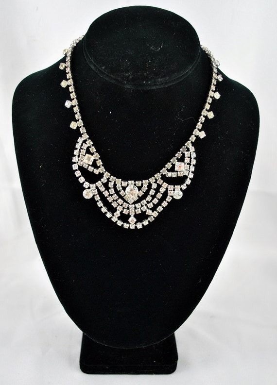 FREE SHIPPING 1950's 1950s Marilyn Party Sparkle  Clear Rhinestone Choker Bib Old Hollywood Glamour Vintage Fashion Jewelry
