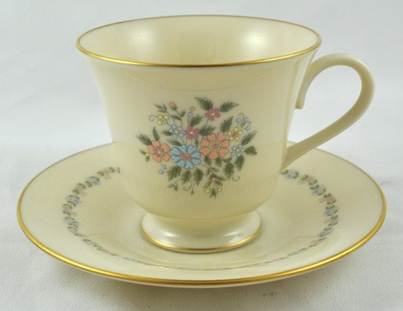 FREE SHIPPING 1980's 1980s Lenox Decor Christie Pattern Teacup Tea Cup Tea Party Home Decor Pink and Blue Floral