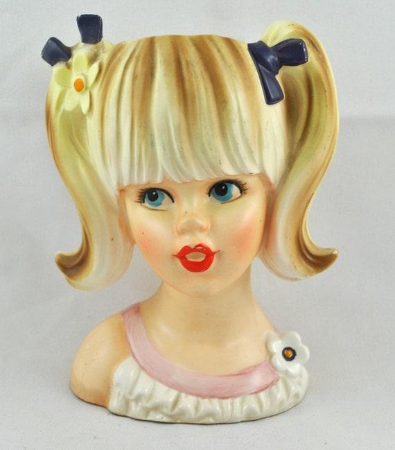 FREE SHIPPING 1940's 1940s Import Japan Japanese Enesco Teenage Girl Blonde Headvase Home Decor  retro mad men summer girl