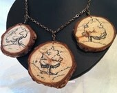 Tree Necklace with Hand Drawn Art and Wood