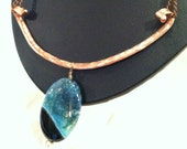 Hand Hammered Copper and Blue Agate Druzy Necklace
