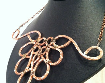 Hand Hammered Copper Wire Necklace, Copper Art, Art Jewelry, Art Necklace
