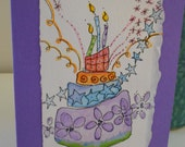 "Art Watercolor Card ""Leaning Cake"" Blank With Envelope betrueoriginals"