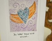 "Art Watercolor Card ""You Were Born With Wings"" Blank With Envelope betrueoriginals"