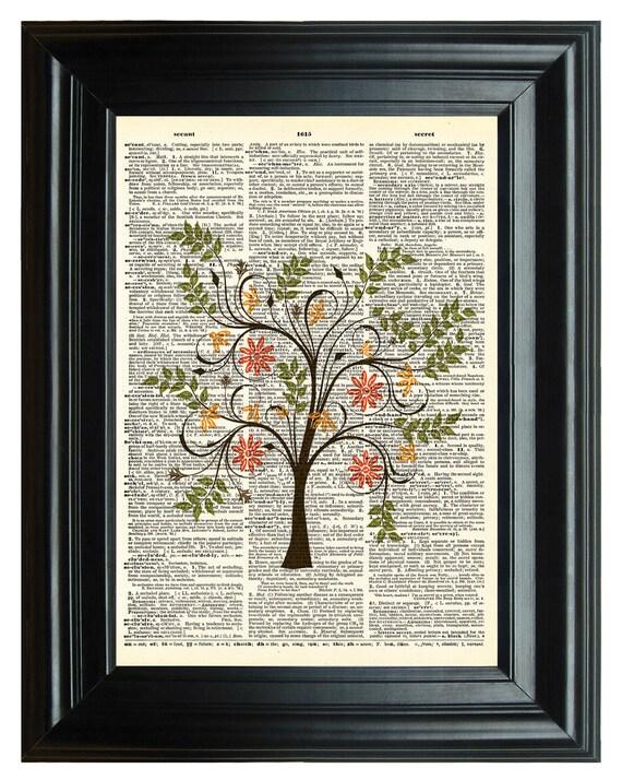 Upcycled dictionary art print, VINTAGE DICTIONARY PRINT, dictionary page tree of life Vintage Print, wedding tree, 8.25x11.25 num. 15