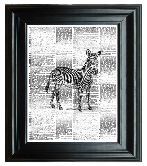 Print on Dictionary, VINTAGE DICTIONARY PRINT, dictionary page Vintage Print, zebras jungle animals 8.25x11.25 num. 16