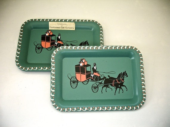 Vintage Set of 2 Small Metal Trays Horse and Buggy