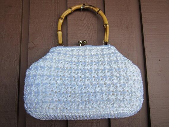 Woven Straw Purse, Vintage Purse, Bright White Purse, Bamboo Handle, Vintage Handbag, Spring 2012