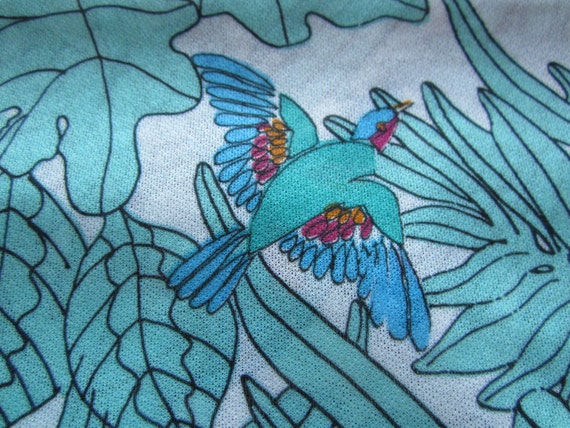 Vintage Fabric, Tropical Bird Pattern, Turquoise, Retro Fabric, to be Repurposed, Sheer Material