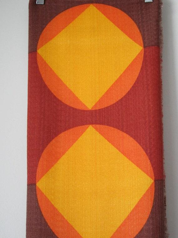 2 Large Pieces of Retro Fabric, Geometric Print, 70s Shades