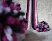 SALE - Long crochet SCARF with pompoms  Warm soft skinny neckwarmer in dark blue, lilac, white stripes