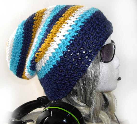 Slouchy beanie Crochet Gaming hat Soft Under headsets Blue White Gold stripes Thin Light Mens Womens Teen