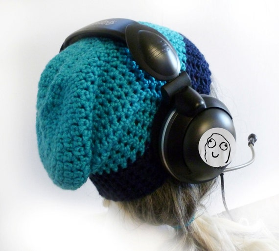 Slouchy beanie. Gaming beanie. Crochet hat. Great under headset. Light blue turquoise blue dark blue soft thin stretchy