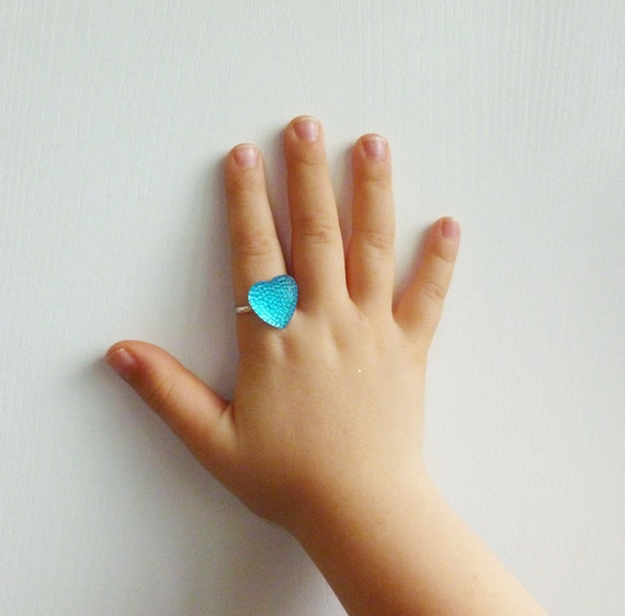 Sparkly Blue Heart Adjustable Ring for Little Girls Big Girls and anyone in between