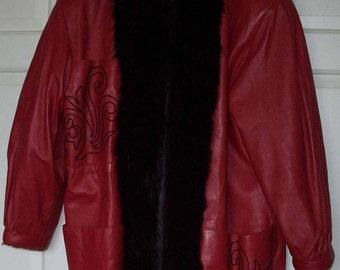 Red Leather mini coat CLEARANCE  black fox trim