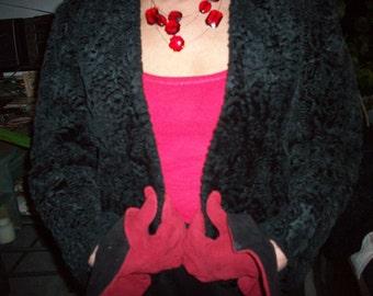 Black  Persian Lamb bolero simulated fabric REDUCED