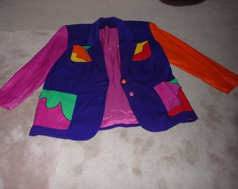 OP - ART JACKET made of  wool fabric and leather, multi color