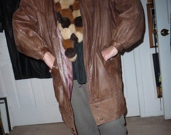 Leather coat light brown color