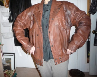 Leather jacket - vest brown REDUCED