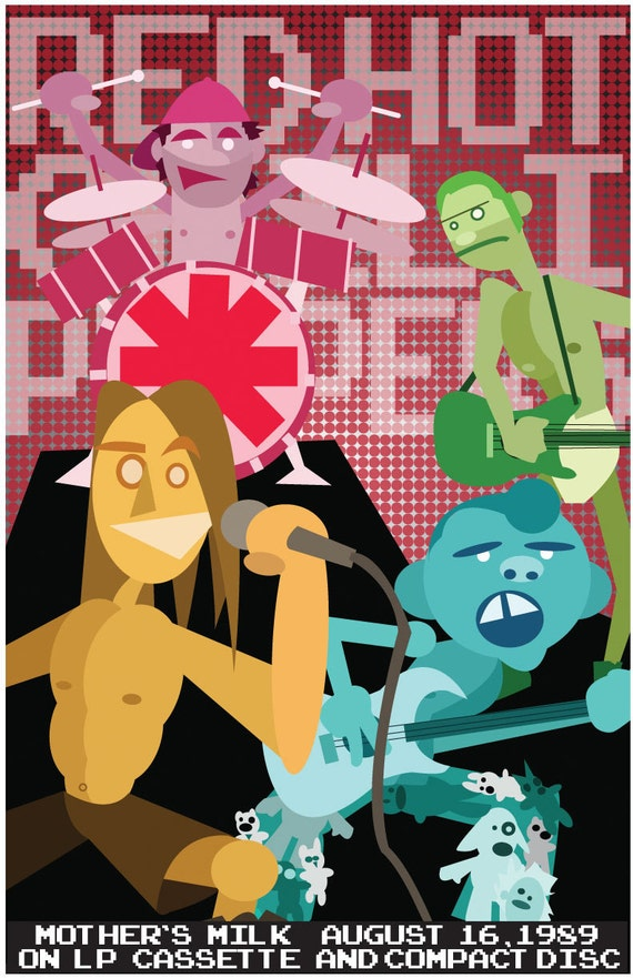 """Red Hot Chili Peppers Poster - 11""""x17"""" poster sized Original Artwork print of the Mother's Milk release"""