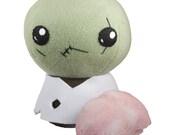 Undead Zombie Stuffed Plush Toy with Stuffed Plush Brain Accessory