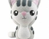 Gray Tabby Kitty Cat Stuffed Plush Toy