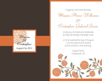 Floral Vines and Mums Wedding Invitation